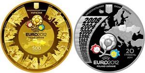 Монеты выпущены Национальным банком Украины и посвящены Евро 2012.
