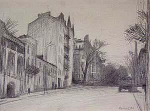 Киев, улица Горького. Владислав Мамсиков. 1980, бумага/карандаш.