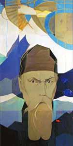 Портрет Н.К Рериха. Керамическое панно. 100х56 см. 1993 год.