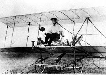 Игорь Сикорский на своем первом самолете С—1, 1910 г.