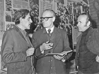 Cергей Смиян (в центре) с франковцами: режиссером А. Скибенко и художником Д. Лидером.