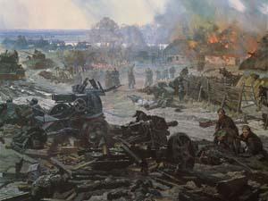 Фрагмент диорамы «Битва за Киев. Лютежский плацдарм. 1943 год».<br>Н.С.Присекин. 1980.