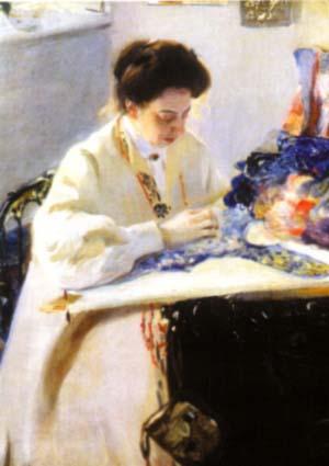 Портрет Елены Праховой работы А.Мурашко, 1905.